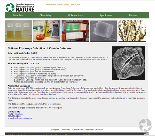 Screen shot of the National Phycology Collection Database.