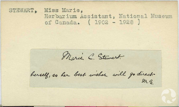 An index card with a handwriting sample attached.