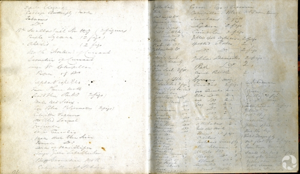 An open notebook showing discoloured pages with handwriting.