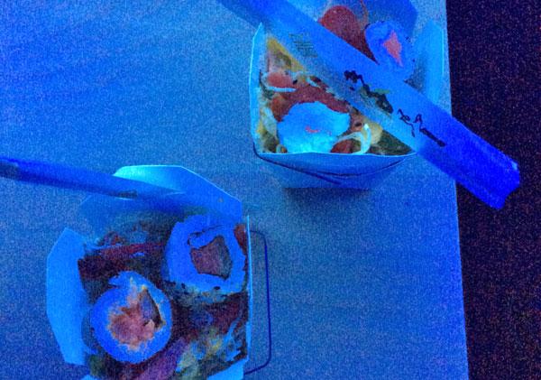 Food glowing under UV light.