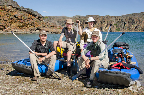 The expedition team (from left to right): Paul Sokoloff, Jeff Saarela and Roger Bull, shown here in a photo from 2012 fieldwork, which also included fellow botanist Dr. Lynn Gillespie (in white hat). Image: Roger Bull © Canadian Museum of Nature