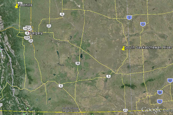 Map of southern Alberta shows the two locations Jordan Mallon will explore to search for dinosaur fossils.