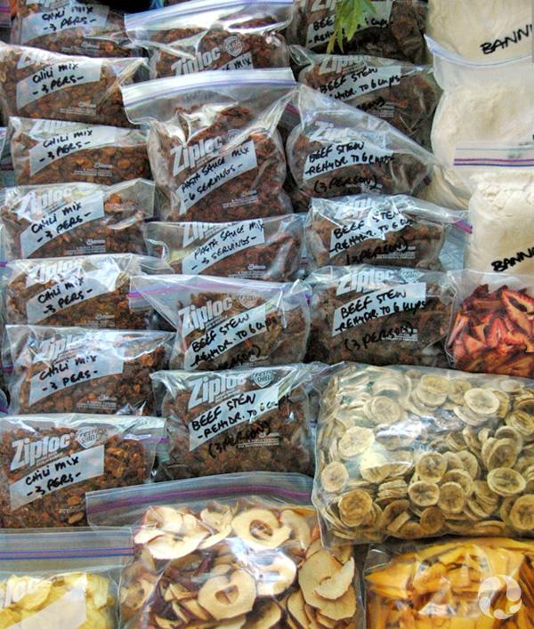Baggies of dried food.