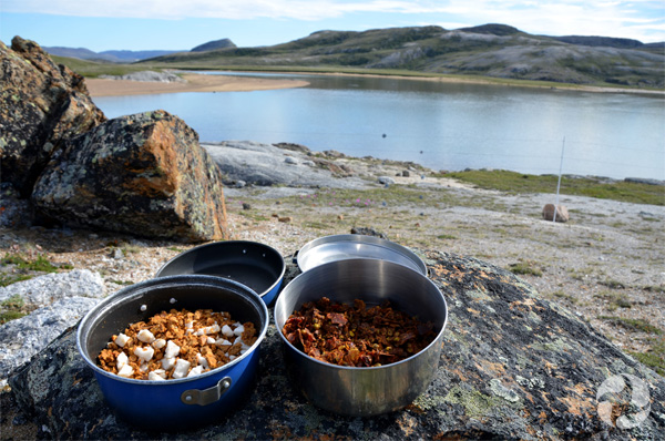 A pot of dehydrated chickpea stew and a pot of dehydrated curried vegetables on a rock in a landscape of river and hills.