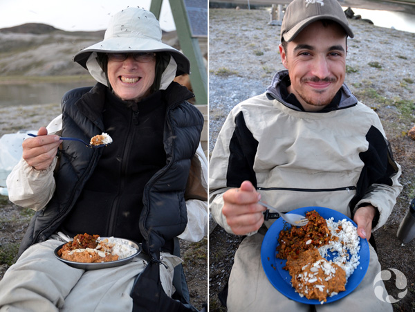 Two photos: A man and a woman sit on the ground eating from their plates.