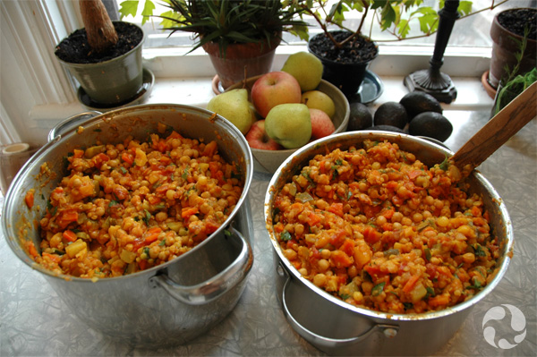 Pots of stew on a table.
