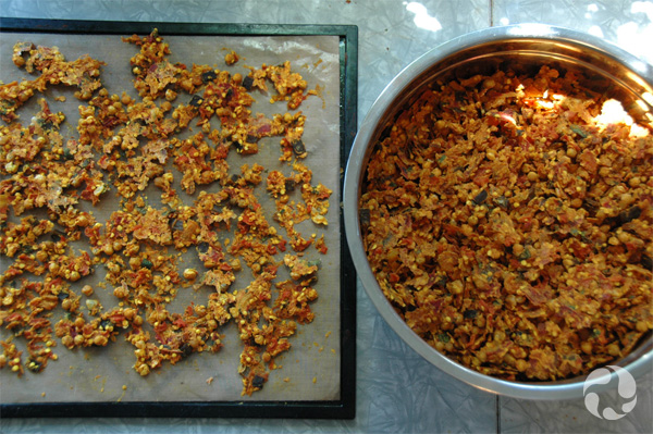 The dried mix on a dehydrator tray beside a pot of the dried mix.