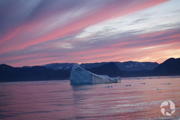 Sunset and iceberg near Nachvak Fjord, Labrador