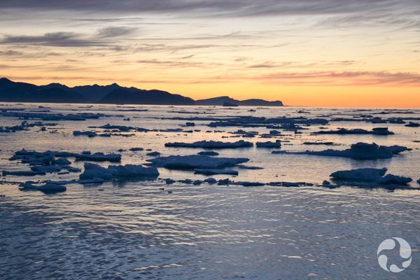 Sunset off the northern Labrador coast