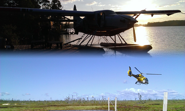 A float place beside a dock. A helicopter taking off from a dock.