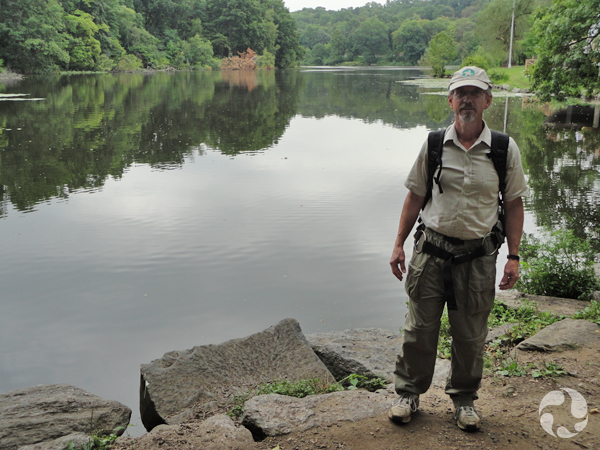 Claude Renaud stands beside Van Cortlandt Lake.