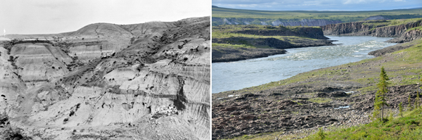 Collage: A colour photo from 2014 of a river valley and a black-and-white photo from 1915 of the Badlands in Alberta.