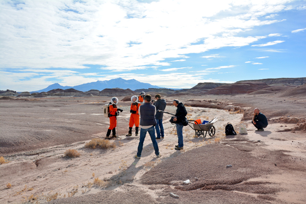 A French documentary crew from Arte interviews crew members in the Utah desert.