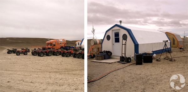 Collage: A truck and almost a dozen ATVs in a barren landscape, two temporary shelters.