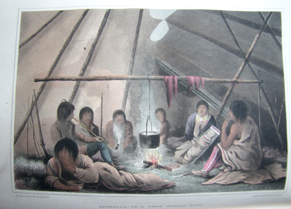 A colour illustration showing eight people sitting around a cooking fire inside a tent.