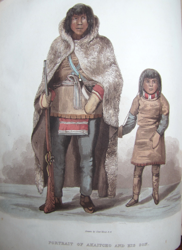 Colour illustration of a man and child in period dress.