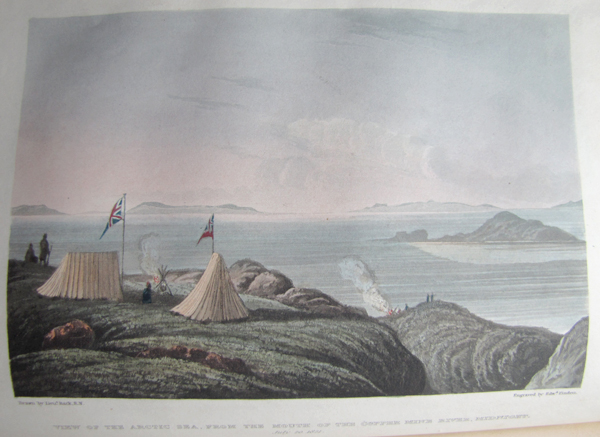 A colour illustration of British tents near shore.