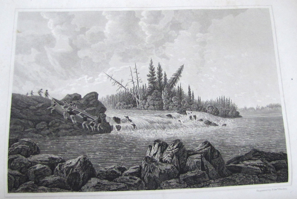A black and white illustration of men portaging a large canoe past a waterfall.