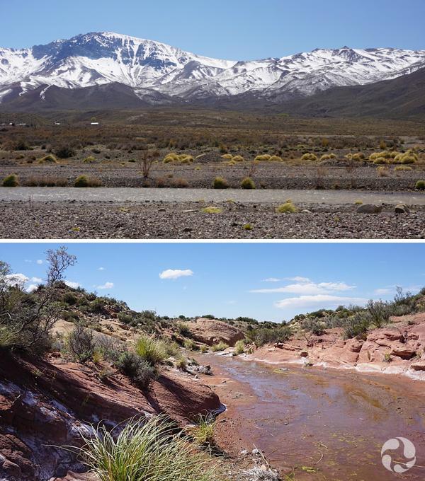 Collage: A mountain range, a river.