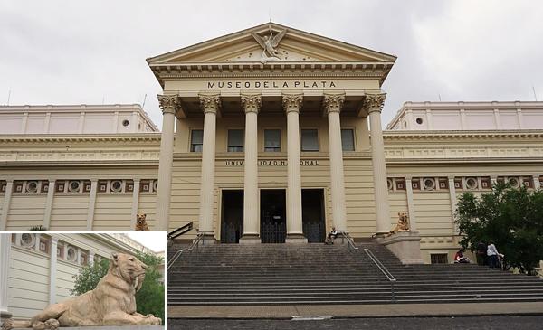 Collage: Exterior of Museo de La Plata and a sculpture of Smilodon.