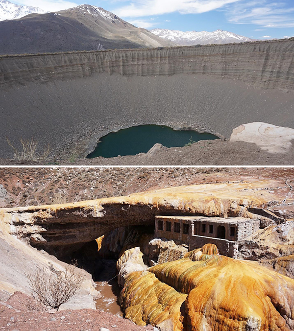 Collage: A huge sinkhole, a natural rock arch over a river.