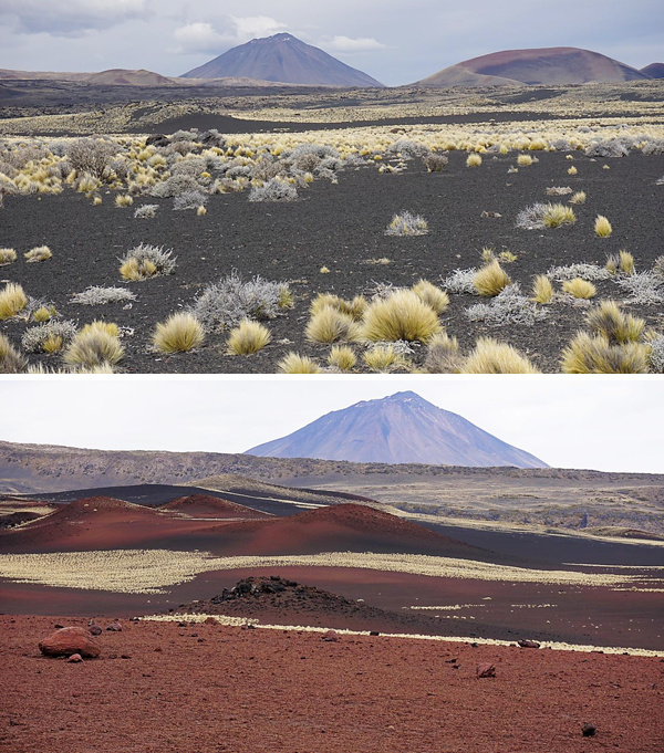 Collage: Two volcanic landscapes.