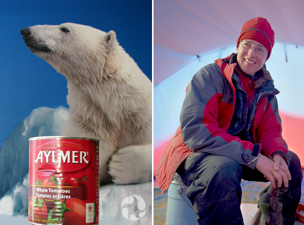 Collage: A can of tomatoes in front of a polar-bear mural, and Natalia Rybczynski sitting inside a tent with a satellite radio beside her.