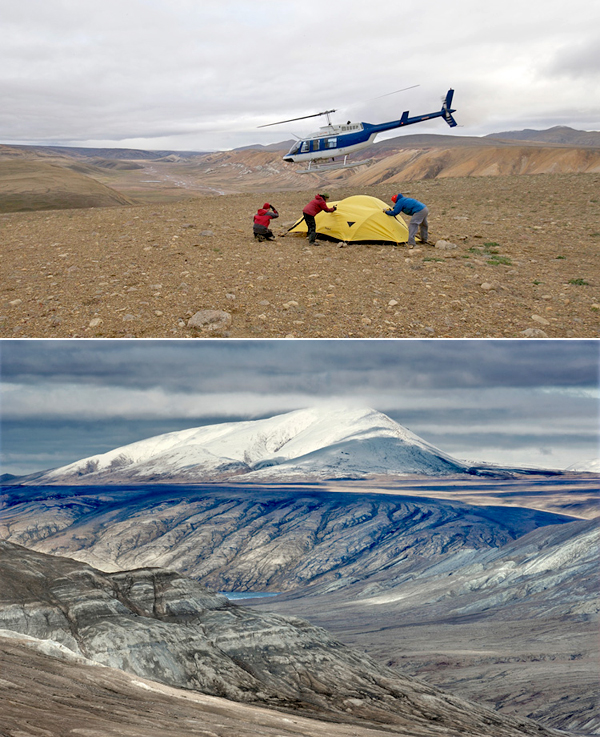 Collage: Three people hold down a yellow tent as a nearby helicopter takes off, and a view of a mountain.