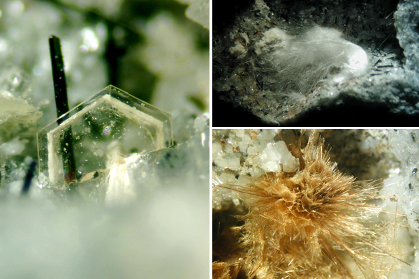 Collage: Close-up views of three mineral specimens.