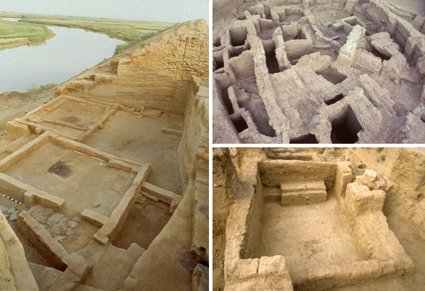 Collage: Three photos of excavated remnants of ancient structures.