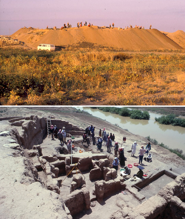Collage: Many people stand on a hill in the distance, overhead view of workers and excavated structure walls.