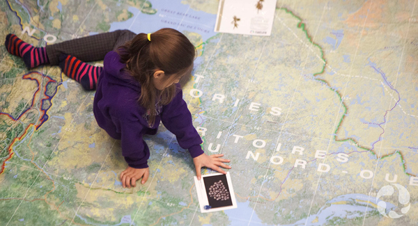 A student holds a specimen card while exploring the map.