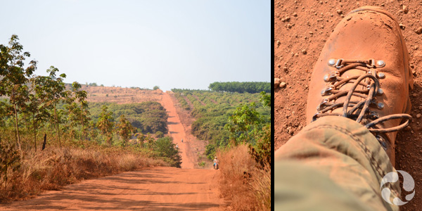 Images: A red dirt country road; a look down at a red-dirt encrusted boot.