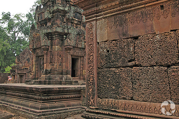 Carved stone structures at an ancient temple.