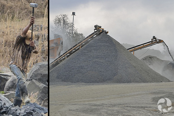 Images: A man uses a sledgehammer among piles of rocks; machines make piles of crushed rock.