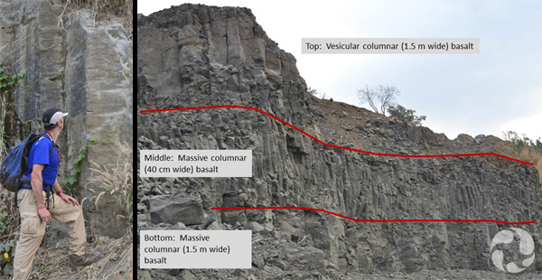 Images: A man stands beside a rock wall; lines demarcating three basalt layers have been applied to a photo (Top: Vesicular columnar 1.5 m, Middle: massive columnar 40 cm wide, Bottom: massive columnar 1.5 m wide).