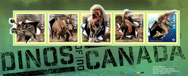 Pictures of the five Dinos of Canada stamps