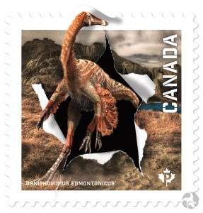 Closeup of the stamp featuring Ornithomimus edmontonicus. Visitors to the museum's Fossil Gallery can the skeleton of this dinosaur. Image: Dan Smythe © Canadian Museum of Nature