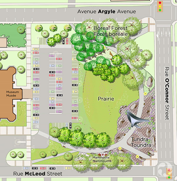 Plans showing the gardens on the museum property.