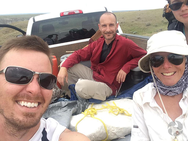 A selfie shows the palaeontology team in the back of a pick-up truck, which is loaded with the Centrosaurus skull wrapped in a plaster jacket.