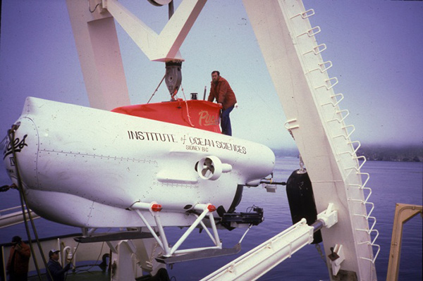 The PISCES IV submersible before it is lowered into the water.