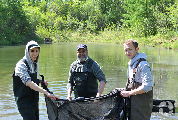 Three men pause in the water while holding a net.