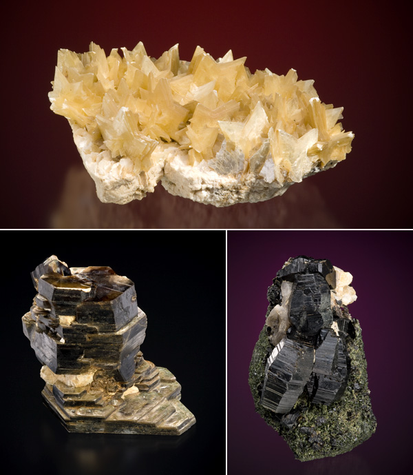 Collage of mineral specimens: muscovite (collection #CMNMC56667) phlogopite (CMNMC30318), annite (CMNMC30318).