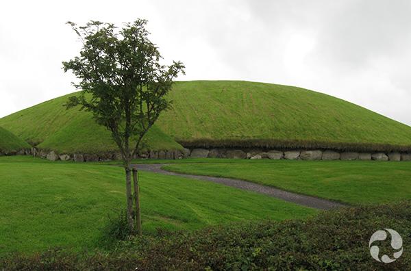 A grassy burial mound.