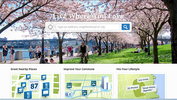 View of the main web page of walkscore.com