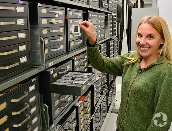 A woman holds a photo slide beside a bank of storage drawers.