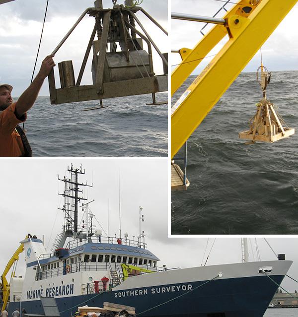 Three photos: A man grasps a sampler that hangs overhead, a sampler hangs over the surface, the ship at port.