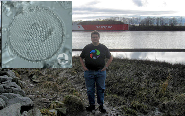 Collage: A man stands beside a river, and a diatom.