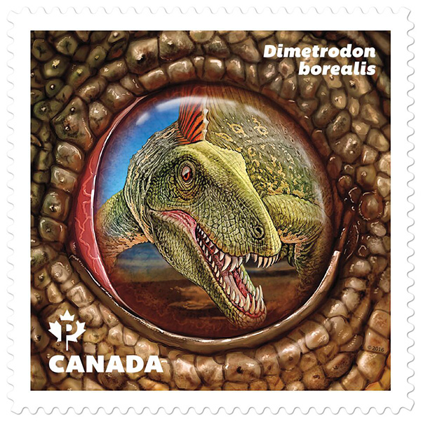 The stamp featuring the Dimetrodon.