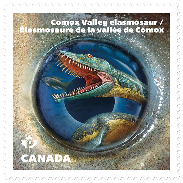 The stamp featuring the elasmosaur.